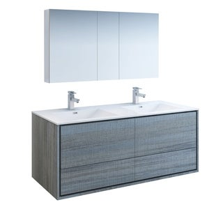 "Fresca Catania 60"" Ocean Gray Wall Hung Double Sink Modern Bathroom Vanity w/ Medicine Cabinet"