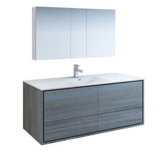 "Fresca Catania 60"" Ocean Gray Wall Hung Single Sink Modern Bathroom Vanity w/ Medicine Cabinet"