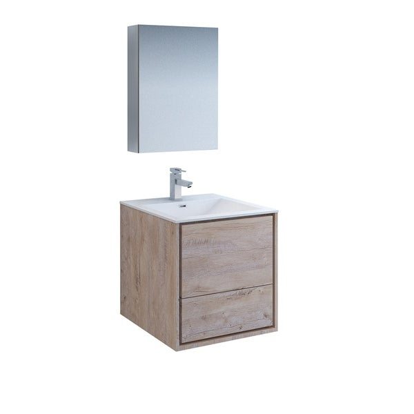 Fresca Catania 24 Rustic Natural Wood Wall Hung Modern Bathroom Vanity W Medicine Cabinet