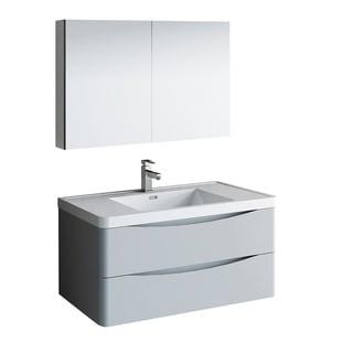 "Fresca Tuscany 40"" Glossy Gray Wall Hung Modern Bathroom Vanity w/ Medicine Cabinet"