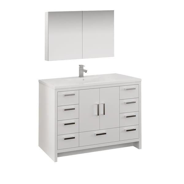 "Fresca Imperia 48"" Glossy White Free Standing Modern Bathroom Vanity w/ Medicine Cabinet"