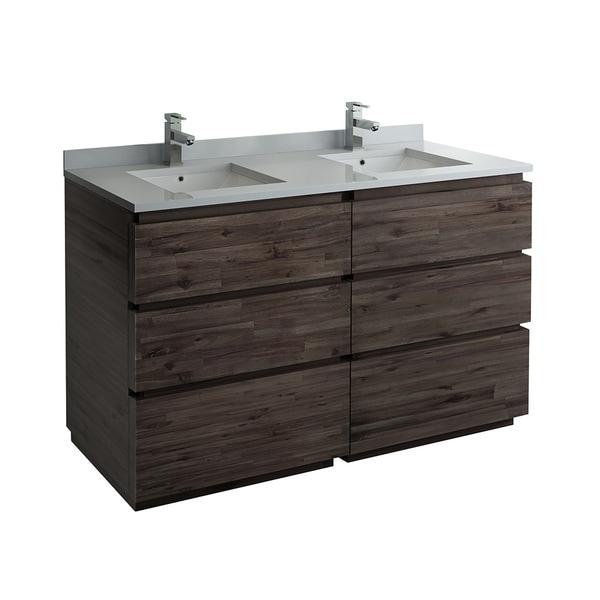 "Fresca Formosa 58"" Floor Standing Double Sink Modern Bathroom Cabinet"
