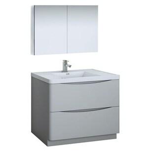 "Fresca Tuscany 40"" Glossy Gray Free Standing Modern Bathroom Vanity w/ Medicine Cabinet"