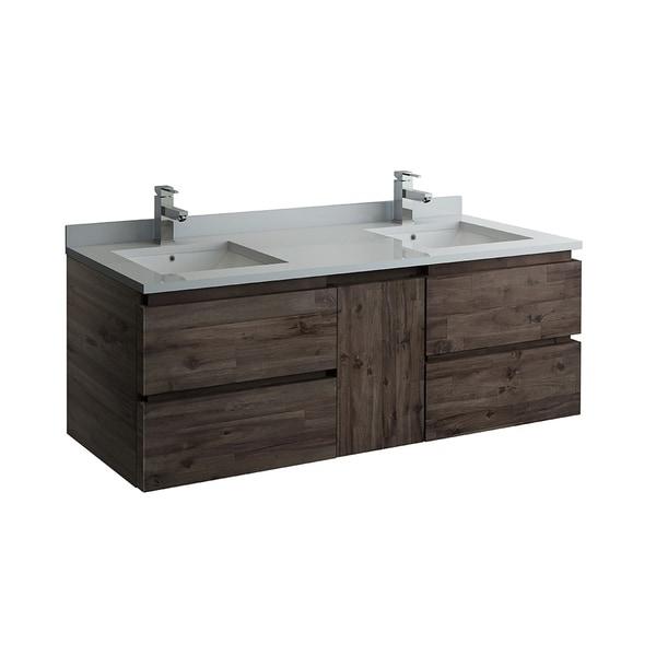 """Fresca Formosa 58"""" Wall Hung Double Sink Modern Bathroom Cabinet"""