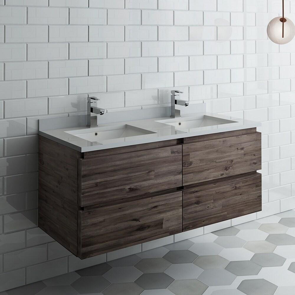 Wall Hung Double Sink Modern Bathroom