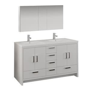 "Fresca Imperia 60"" Glossy White Free Standing Double Sink Modern Bathroom Vanity w/ Medicine Cabinet"