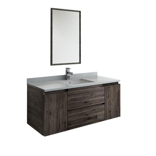 "Fresca Formosa 48"" Wall Hung Modern Bathroom Vanity w/ Mirror"