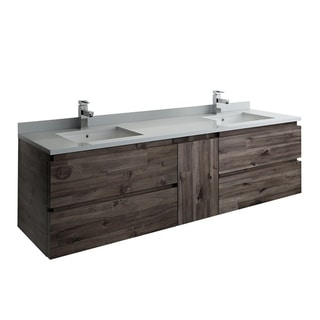 "Fresca Formosa 70"" Wall Hung Double Sink Modern Bathroom Cabinet"