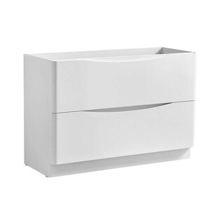 """Fresca Tuscany 48"""" Glossy White Free Standing Double Sink Modern Bathroom Cabinet"""
