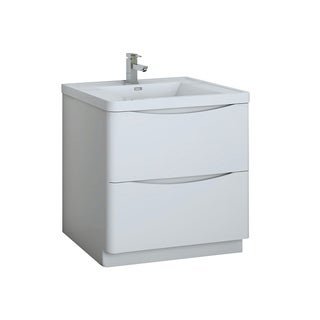 "Fresca Tuscany 32"" Glossy White Free Standing Modern Bathroom Cabinet w/ Integrated Sink"