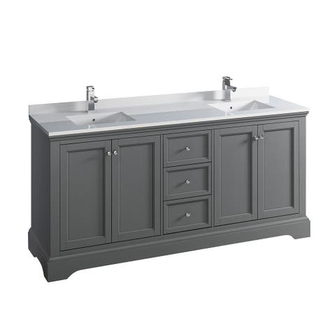 """Fresca Windsor 72"""" Gray Textured Traditional Double Sink Bathroom Cabinet w/ Top & Sinks"""