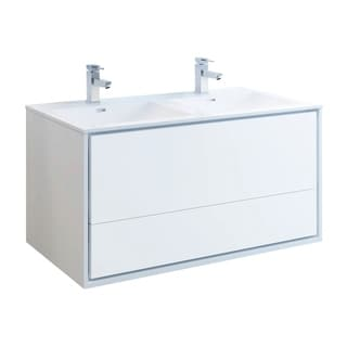 """Fresca Catania 48"""" Glossy White Wall Hung Modern Bathroom Cabinet w/ Integrated Double Sink"""