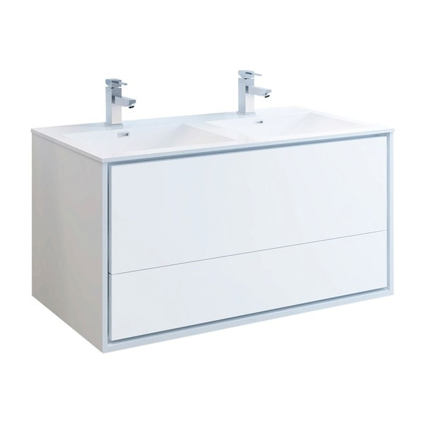 "Fresca Catania 48"" Glossy White Wall Hung Modern Bathroom Cabinet w/ Integrated Double Sink"