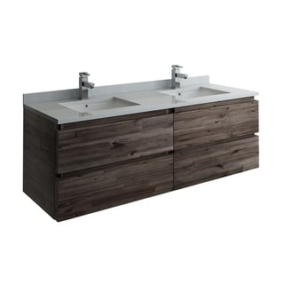 "Fresca Formosa 58"" Wall Hung Double Sink Modern Bathroom Cabinet"