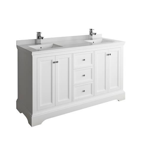 "Fresca Windsor 60"" Matte White Traditional Double Sink Bathroom Cabinet w/ Top & Sinks"