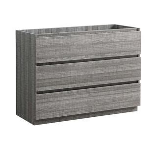 "Fresca Lazzaro 48"" Glossy Ash Gray Free Standing Modern Bathroom Cabinet"