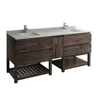 "Fresca Formosa 82"" Floor Standing Open Bottom Double Sink Modern Bathroom Cabinet"