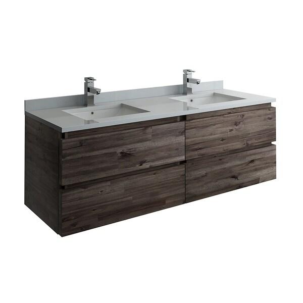 "Fresca Formosa 60"" Wall Hung Double Sink Modern Bathroom Cabinet w/ Top & Sinks"