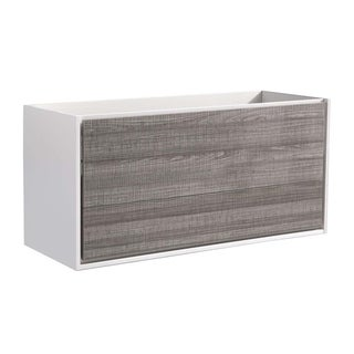 "Fresca Catania 48"" Glossy Ash Gray Wall Hung Double Sink Modern Bathroom Cabinet"