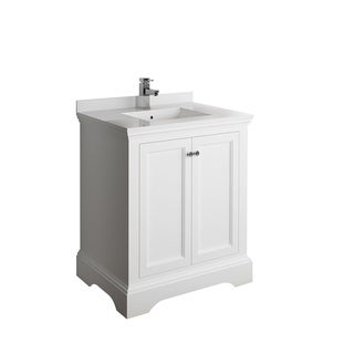 "Fresca Windsor 30"" Matte White Traditional Bathroom Cabinet w/ Top & Sink"