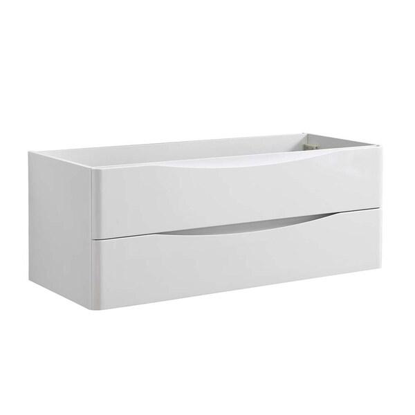 "Fresca Tuscany 48"" Glossy White Wall Hung Double Sink Modern Bathroom Cabinet"