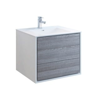 "Fresca Catania 30"" Glossy Ash Gray Wall Hung Modern Bathroom Cabinet w/ Integrated Sink"