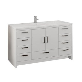 "Fresca Imperia 60"" Glossy White Free Standing Modern Bathroom Cabinet w/ Integrated Single Sink"