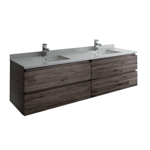 """Fresca Formosa 70"""" Wall Hung Double Sink Modern Bathroom Cabinet"""