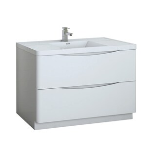 "Fresca Tuscany 48"" Glossy White Free Standing Modern Bathroom Cabinet w/ Integrated Sink"