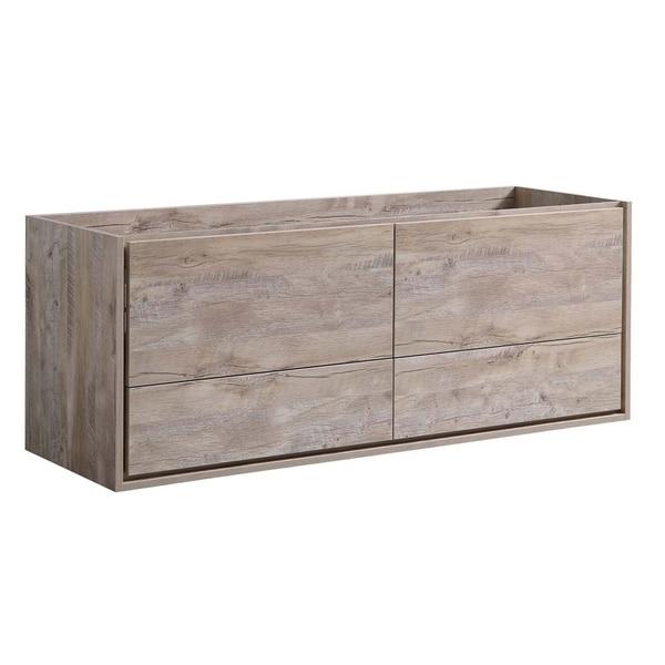 "Fresca Catania 60"" Rustic Natural Wood Wall Hung Single Sink Modern Bathroom Cabinet"