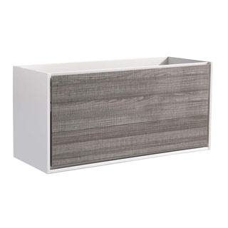 "Fresca Catania 48"" Glossy Ash Gray Wall Hung Modern Bathroom Cabinet"