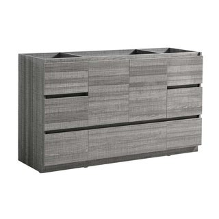 "Fresca Lazzaro 60"" Glossy Ash Gray Free Standing Single Sink Modern Bathroom Cabinet"