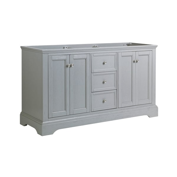 """Fresca Windsor 60"""" Gray Textured Traditional Double Sink Bathroom Cabinet"""