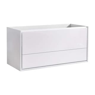 "Fresca Catania 48"" Glossy White Wall Hung Double Sink Modern Bathroom Cabinet"
