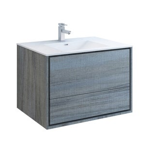 "Fresca Catania 36"" Ocean Gray Wall Hung Modern Bathroom Cabinet w/ Integrated Sink"