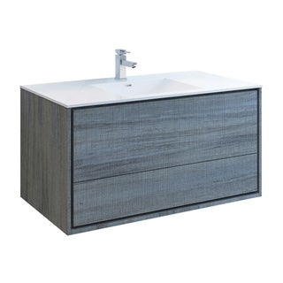 "Fresca Catania 48"" Ocean Gray Wall Hung Modern Bathroom Cabinet w/ Integrated Sink"