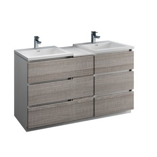 """Fresca Lazzaro 60"""" Glossy Ash Gray Free Standing Double Sink Modern Bathroom Cabinet w/ Integrated Sinks"""