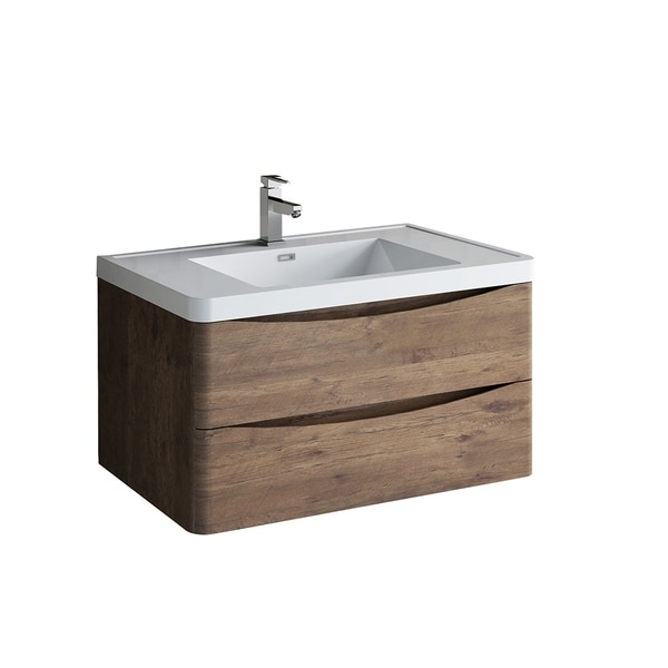 "Fresca Tuscany 36"" Rosewood Wall Hung Modern Bathroom Cabinet w/ Integrated Sink"