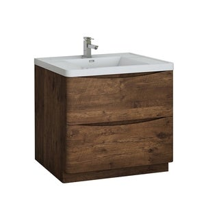 "Fresca Tuscany 36"" Rosewood Free Standing Modern Bathroom Cabinet w/ Integrated Sink"