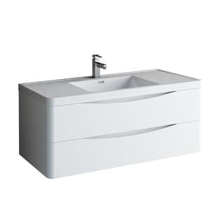 "Fresca Tuscany 48"" Glossy White Wall Hung Modern Bathroom Cabinet w/ Integrated Sink"