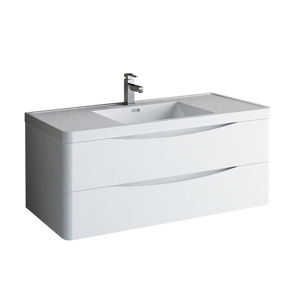 "Fresca Tuscany 48"" Glossy White Wall Hung Modern Bathroom Cabinet w/ Integrated Sink"