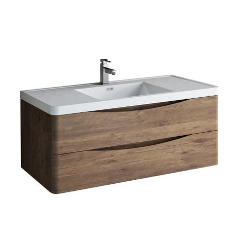 "Fresca Tuscany 48"" Rosewood Wall Hung Modern Bathroom Cabinet w/ Integrated Sink"