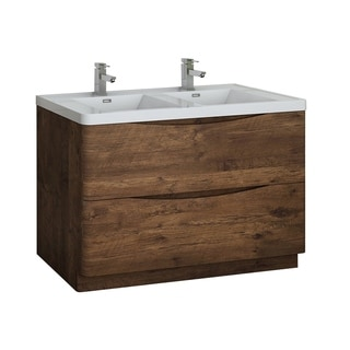 "Fresca Tuscany 48"" Rosewood Free Standing Modern Bathroom Cabinet w/ Integrated Double Sink"