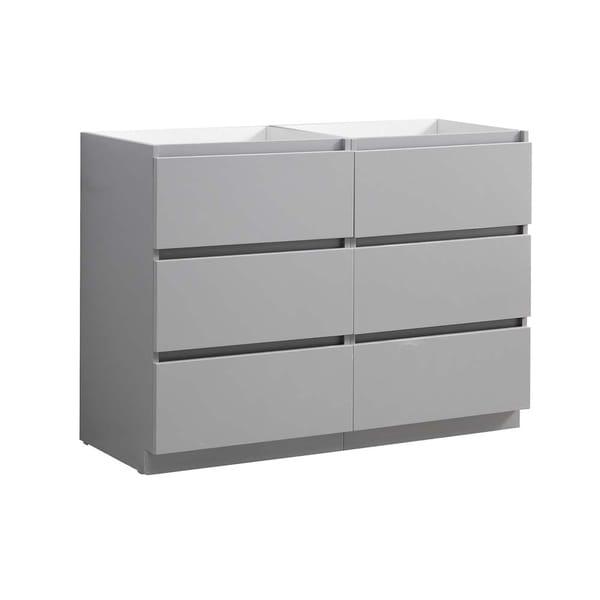 "Fresca Lazzaro 48"" Gray Free Standing Double Sink Modern Bathroom Cabinet"