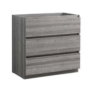 "Fresca Lazzaro 36"" Glossy Ash Gray Free Standing Modern Bathroom Cabinet"