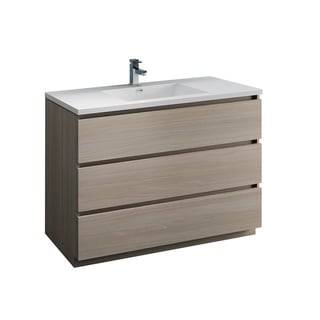 "Fresca Lazzaro 48"" Gray Wood Free Standing Modern Bathroom Cabinet w/ Integrated Sink"