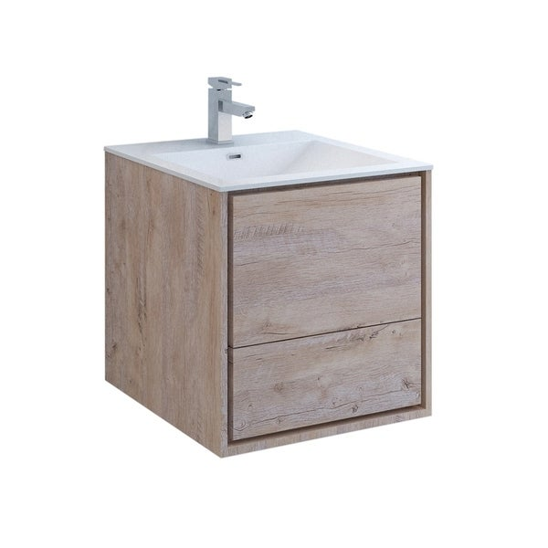 """Fresca Catania 24"""" Rustic Natural Wood Wall Hung Modern Bathroom Cabinet w/ Integrated Sink"""