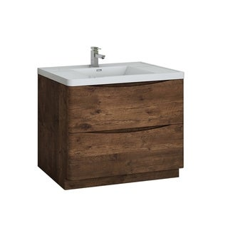 "Fresca Tuscany 40"" Rosewood Free Standing Modern Bathroom Cabinet w/ Integrated Sink"