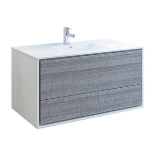"Fresca Catania 48"" Glossy Ash Gray Wall Hung Modern Bathroom Cabinet w/ Integrated Sink"
