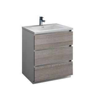 "Fresca Lazzaro 30"" Glossy Ash Gray Free Standing Modern Bathroom Cabinet w/ Integrated Sink"